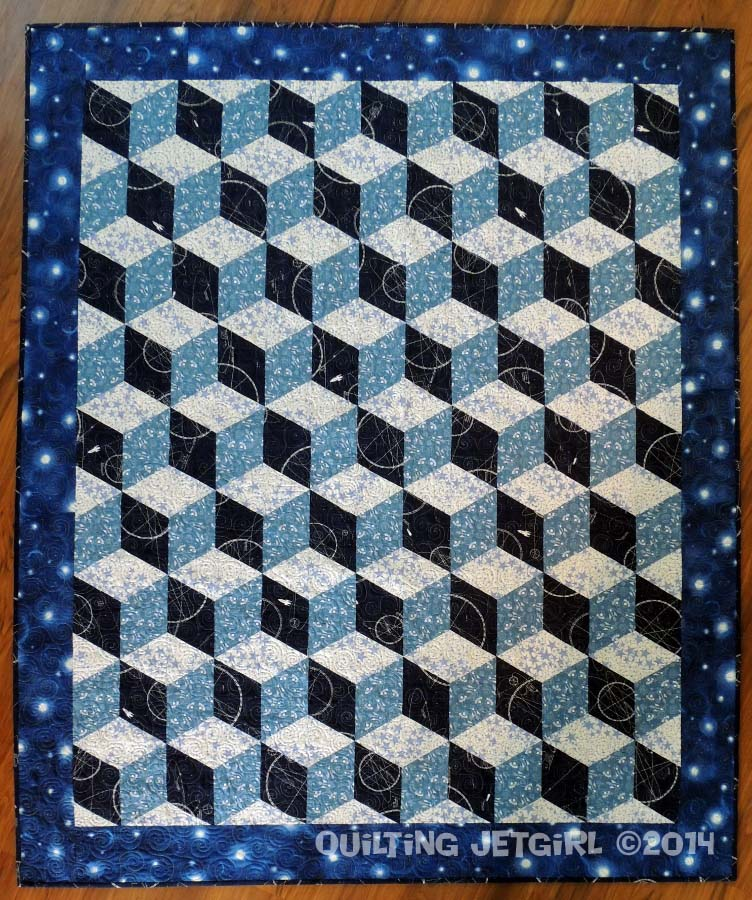 Space age tumbling blocks completed quilt quilting jetgirl for Spaceship quilt