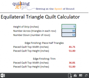 Equilateral Triangle Quilt Calculator (Image Only, Click to Redirect)